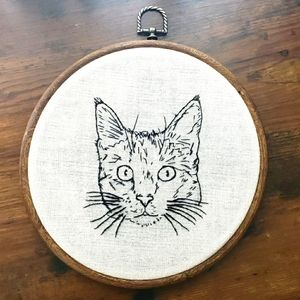 Handmade (by me) Embroidered Cat Feline Wall Art
